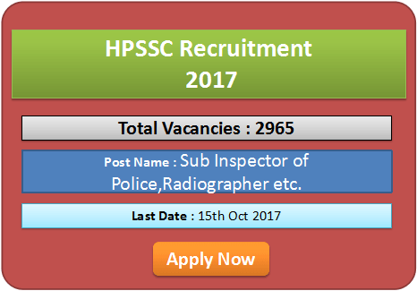 HPSSC SI Recruitment