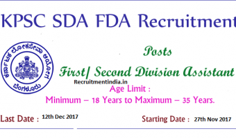 KPSC FDA SDA Recruitment 2017 – Apply 754 First & Second Division Assistant Job Vacancies